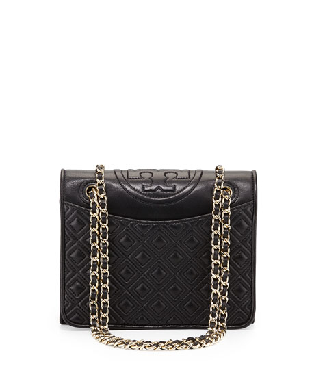 Fleming Medium Quilted Shoulder Bag, Black