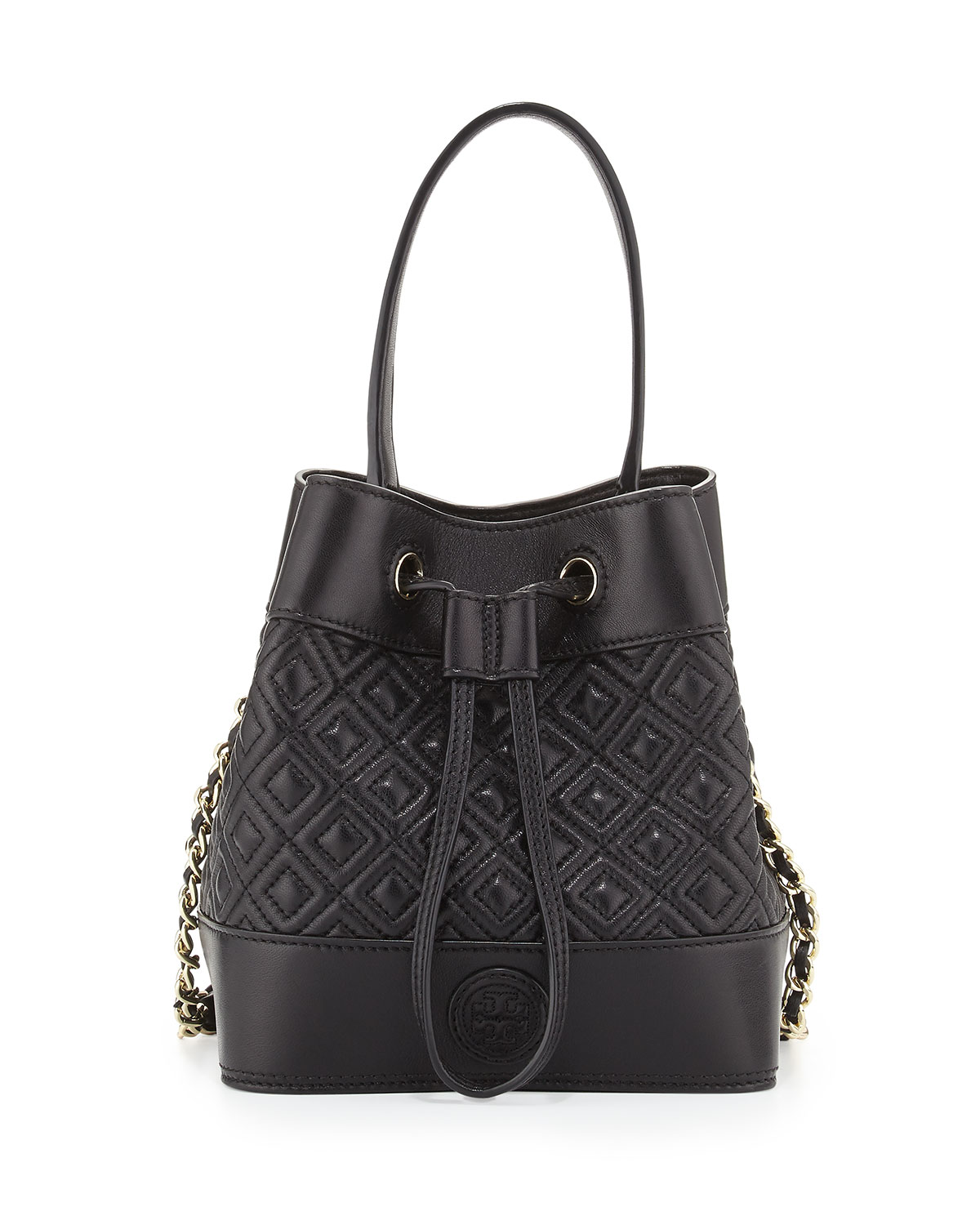 3019d58425d Tory Burch Marion Quilted Mini Bucket Bag, Black | Neiman Marcus