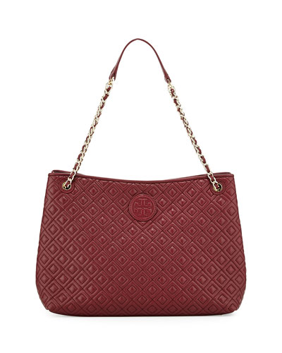 Marion Quilted Slouch Shoulder Bag, Red Agate
