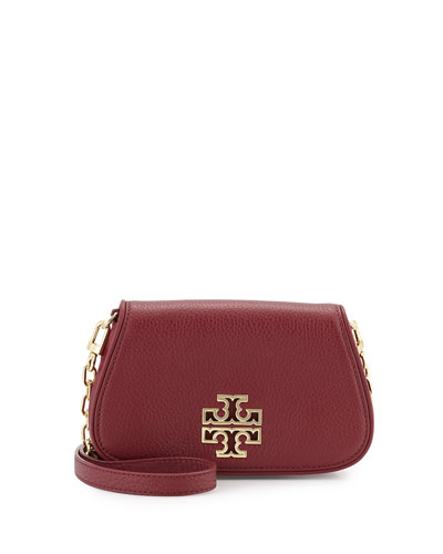 Britten Mini Leather Crossbody Bag, Red Agate