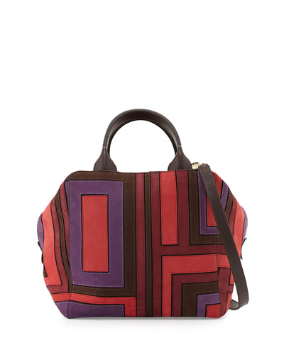 Pieced-T Patchwork Suede Satchel Bag, Multi
