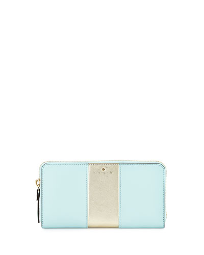 cedar street lacey racing-stripe wallet, cyan blue/gold