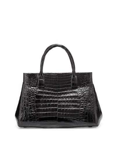 Crocodile Medium Soft Lady Bag, Black Shiny
