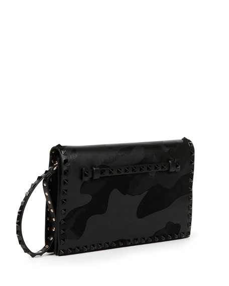 Rockstud Camo Medium Clutch Bag