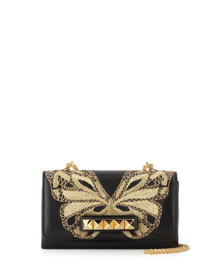 Valentino Va Va Voom Butterfly Shoulder Bag, Black/Gold