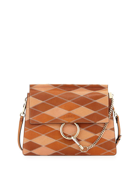 ChloeFaye Patchwork Leather Shoulder Bag, Caramel
