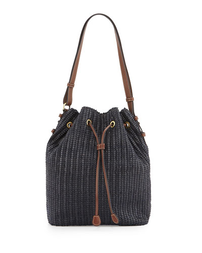 Ami Woven Bucket Bag, Midnight