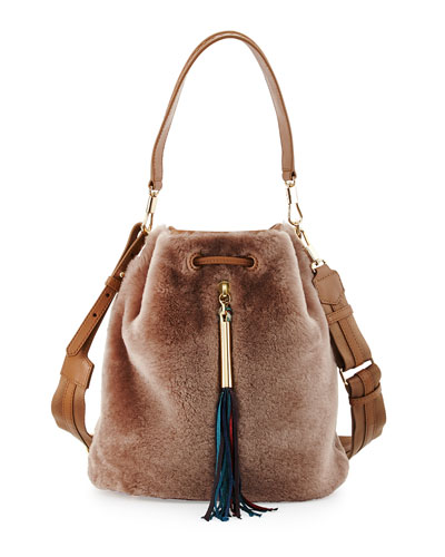 Cynnie Shearling Fur Bucket Bag, Stone