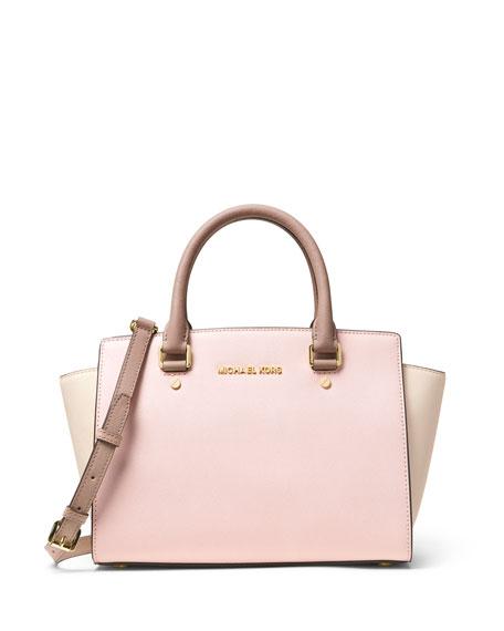 Selma Medium Tricolor Satchel Bag Dusty Rose Ecru