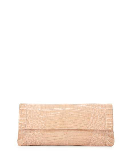 Nancy Gonzalez Gotham Crocodile Flap Clutch Bag, Nude