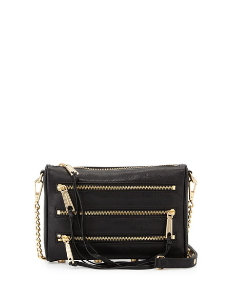 Rebecca Minkoff Five-Zip Mini Crossbody Bag, Black