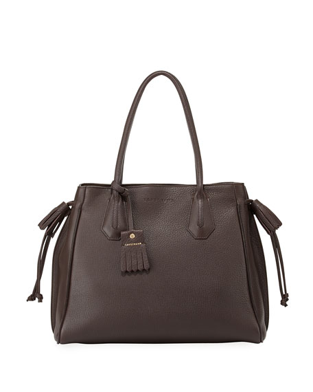 Longchamp Penelope Leather Shoulder Bag, Ebony