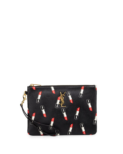 Monogram Lipstick-Print Leather Pouch, Black