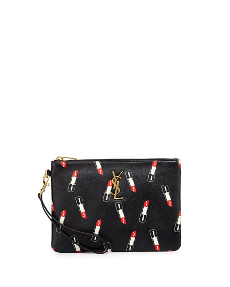 Saint Laurent Monogram Lipstick-Print Leather Pouch, Black