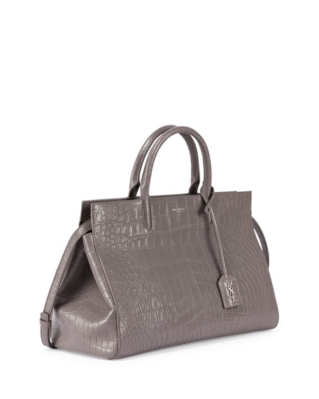 yves saint laurant handbags - Saint Laurent Cabas Rive gauche Croc-Stamped Tote Bag, Gray