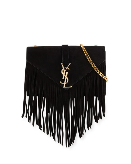 Monogram Fringe Beaded Pouch, Black