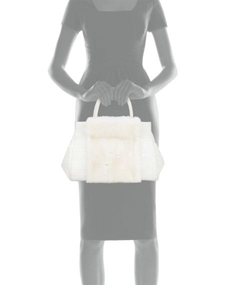 Loop Crocodile Medium Mink-Panel Satchel Bag, White