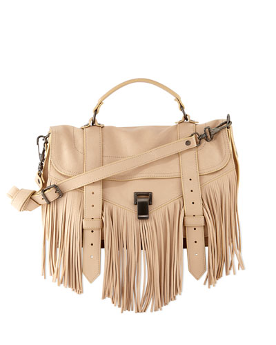 PS1 Medium Fringe Satchel Bag, Nude