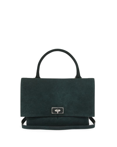 Suede Shark-Tooth-Lock Shoulder Bag, Green