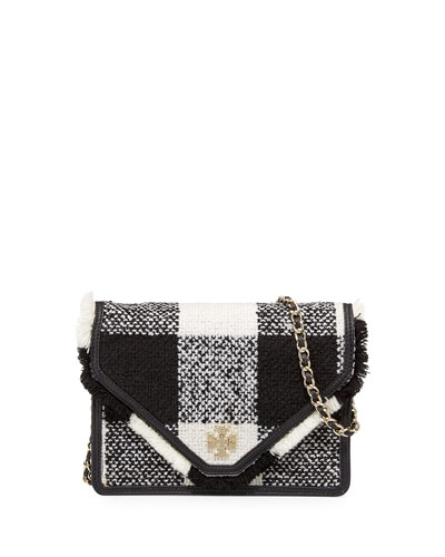Kira Tweed Crossbody Bag, Black/White