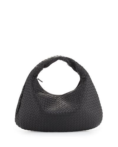 Veneta Large Hobo Bag, Ebano Dark Brown