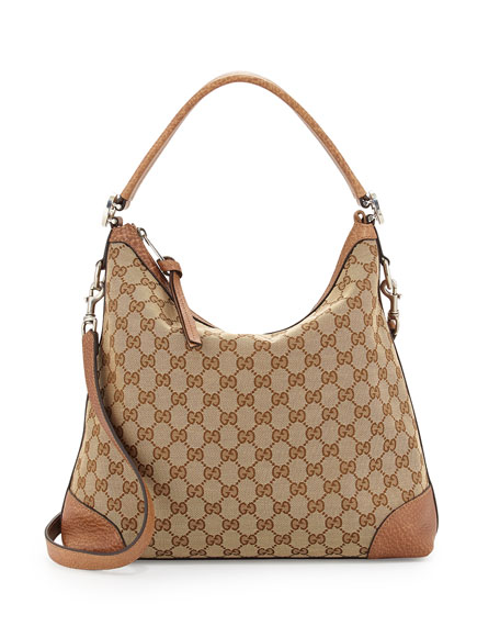 Gucci Original GG Canvas Hobo Bag, Medium Camel | Neiman Marcus