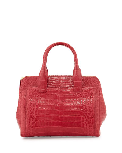 Small Modern Crocodile Tote Bag, Red Matte