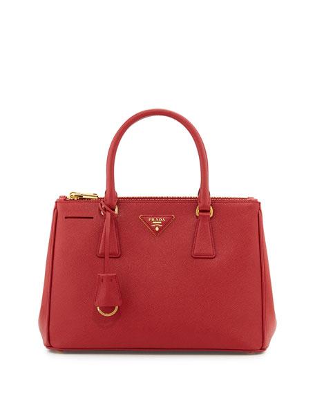 Saffiano Small Double-Handle Tote Bag, Red (Fuoco)