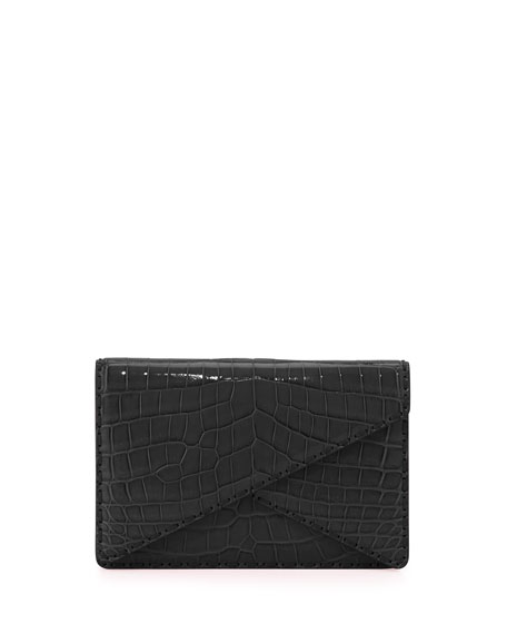 Bottega Veneta Piano Crocodile Crisscross Clutch Bag, Rosa