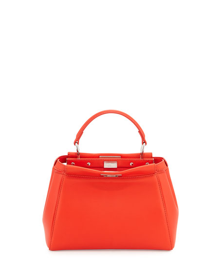 Fendi Peekaboo Mini Satchel Bag, Poppy