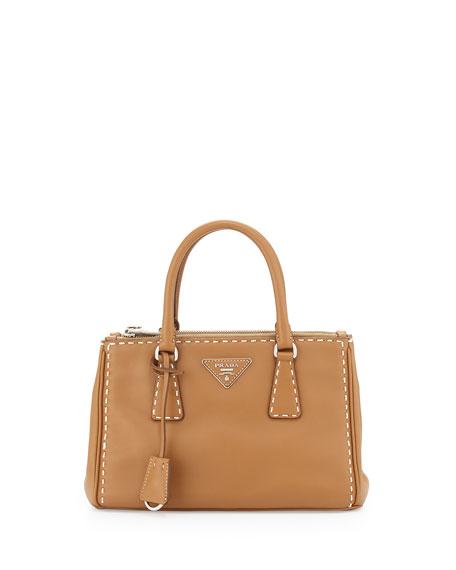 prada knock off - Prada Galleria Small Frame Tote Bag, Caramel/White (Camelo/Bianco)