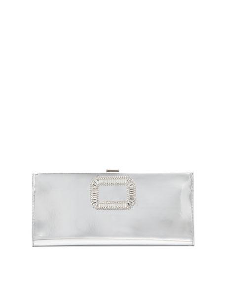Pilgrim Small Mirror Calfskin Clutch Bag, Silver