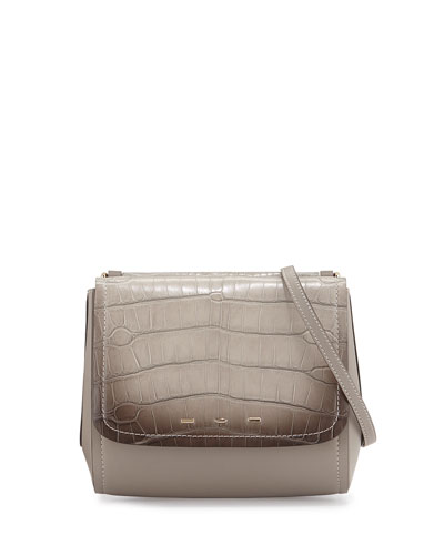 Sabrina Alligator Flap Crossbody Bag, Gray