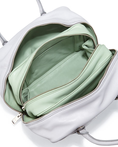 Medium Soft Calf Inside Bag, Gray/Aqua Green (Granito+Acquamarina)