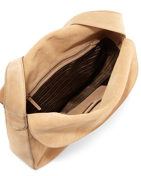 Prada Suede Doubled Flap-Top Medium Hobo Bag, Camel (Cammello)
