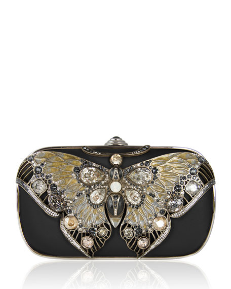 Judith Leiber Couture Soft-Sided Rectangle Clutch With Butterfly,