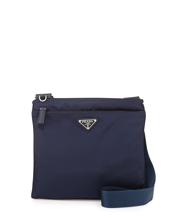 60a945ff87fe Prada Vela Small Nylon Crossbody Bag, Blue (Baltico) | Neiman Marcus