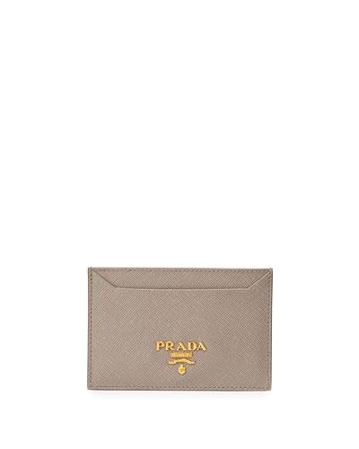 Saffiano Flat Business Card Holder, Gray (Argillo)