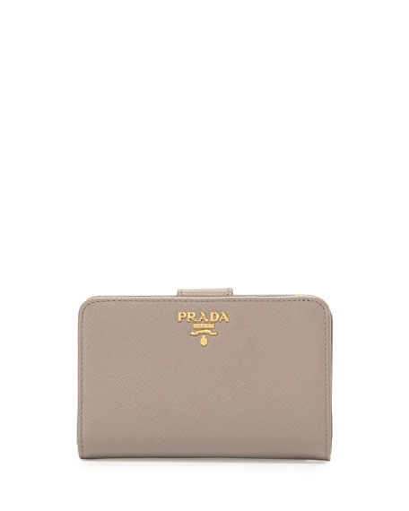 Prada Saffiano Bi-Fold Tab Wallet, Gray (Argillo)
