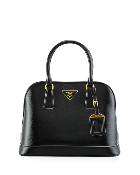 Patent Saffiano Medium Tote Bag, Black (Nero)