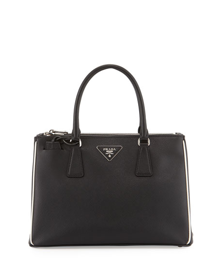 Prada Saffiano Small East-West Tote Bag, Black (Nero)