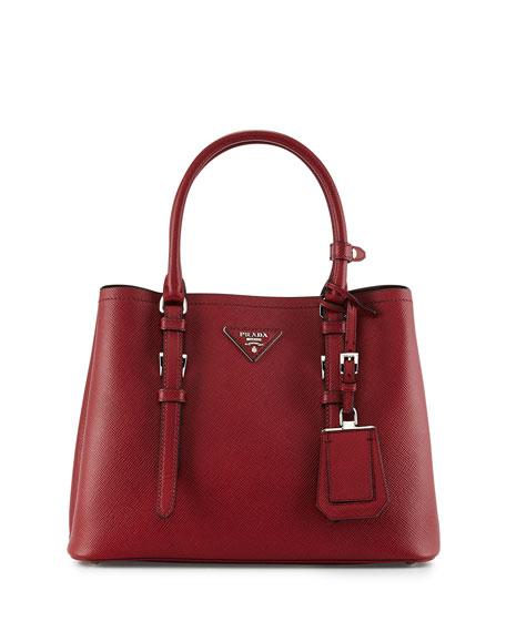 Prada Small East-West Saffiano Tote Bag, Red (Ceris)