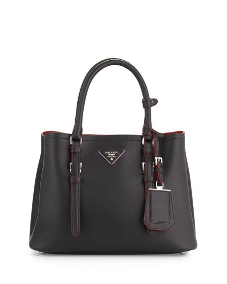 Prada Small Calf Double Shoulder Bag, Black (Nero)