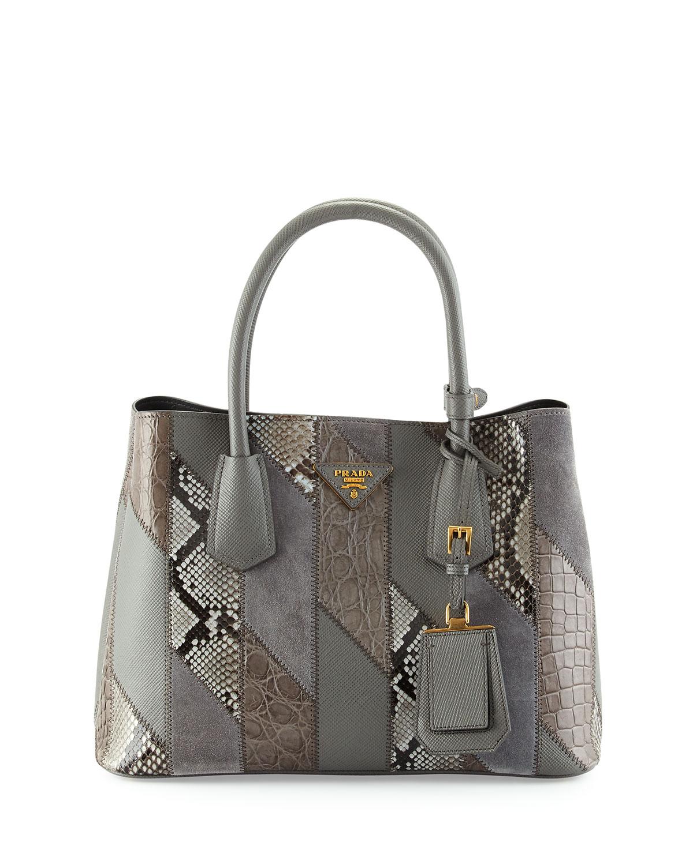 Small Python Leather Crocodile Tote Bag Gray Marmo