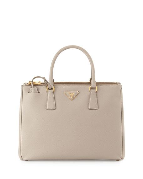 Prada Saffiano Small Double-Handle Tote Bag, Light Gray