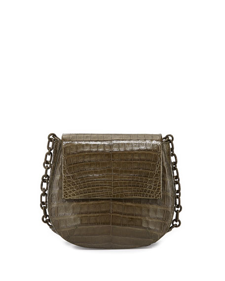 Round Flap-Top Crocodile Crossbody Bag, Army Green