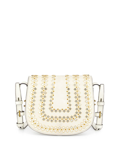 Mirrored Medium Leather Saddle Bag, New Ivory