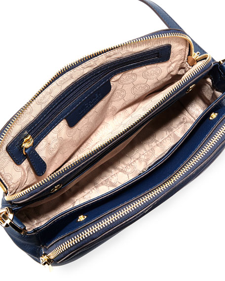MICHAEL Michael Kors Bedford Medium Double Zip Messenger Bag, Navy