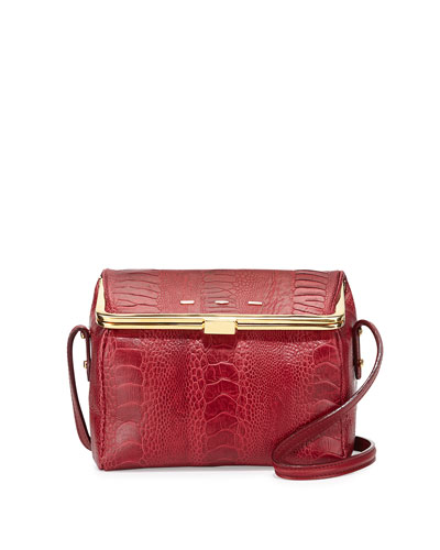 Audrey Ostrich/Vitello Box Crossbody, Cranberry