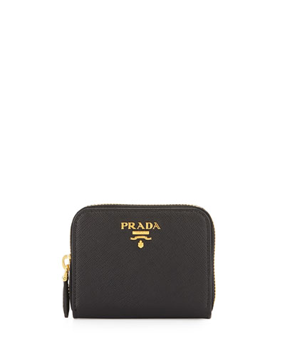 Saffiano Mini Zip-Around Wallet, Black (Nero)